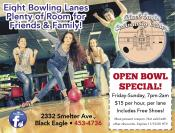 Coupon Offer: Open Bowl Special - $15.00 Per Hour, Includes Shoes!
