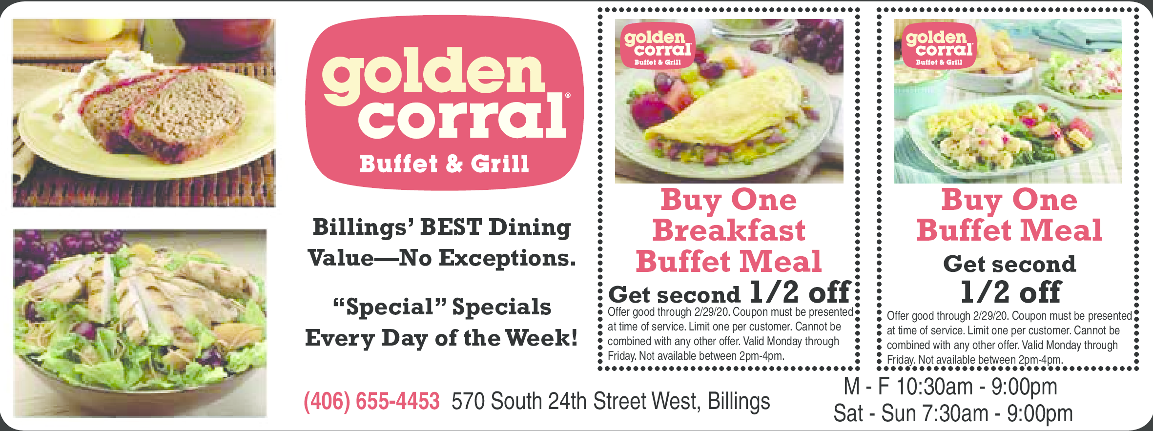 It is a graphic of Obsessed Golden Corral Printable Coupons 2020